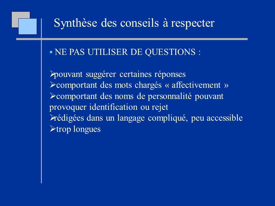 Synthèse des conseils à respecter