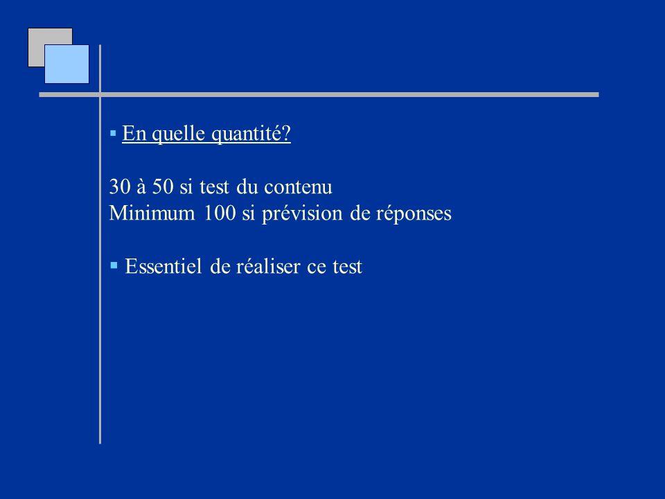 Minimum 100 si prévision de réponses Essentiel de réaliser ce test