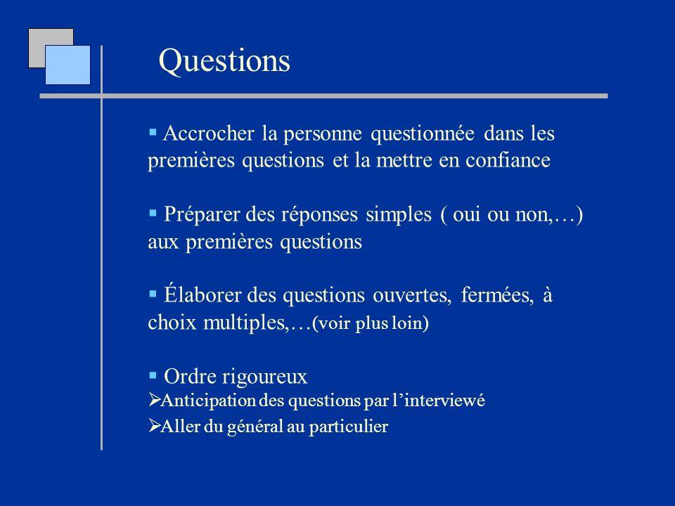 Questions Accrocher la personne questionnée dans les premières questions et la mettre en confiance.