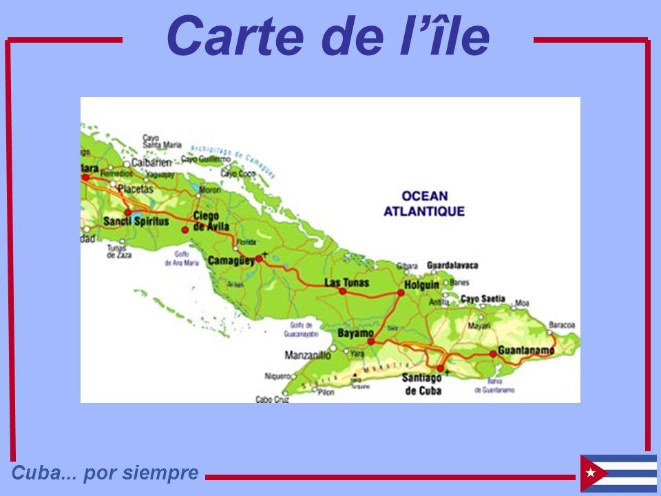Carte de l'île Cuba... por siempre
