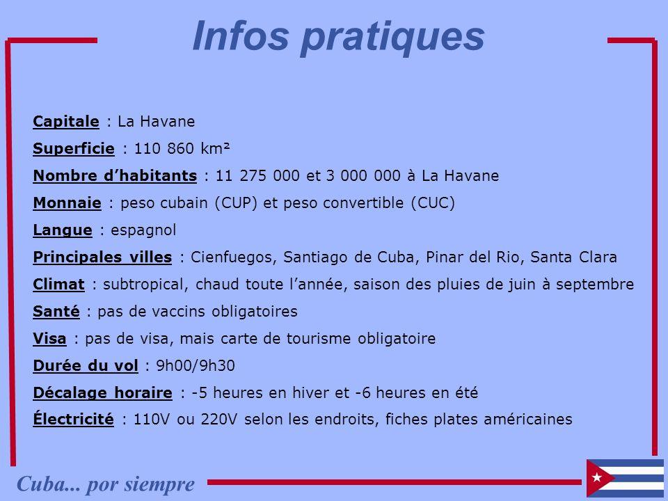 Infos pratiques Cuba... por siempre Capitale : La Havane