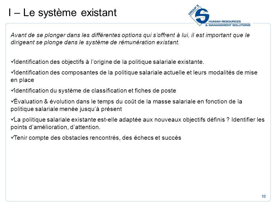 I – Le système existant