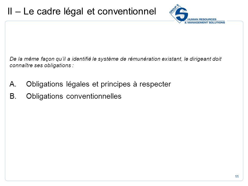 II – Le cadre légal et conventionnel