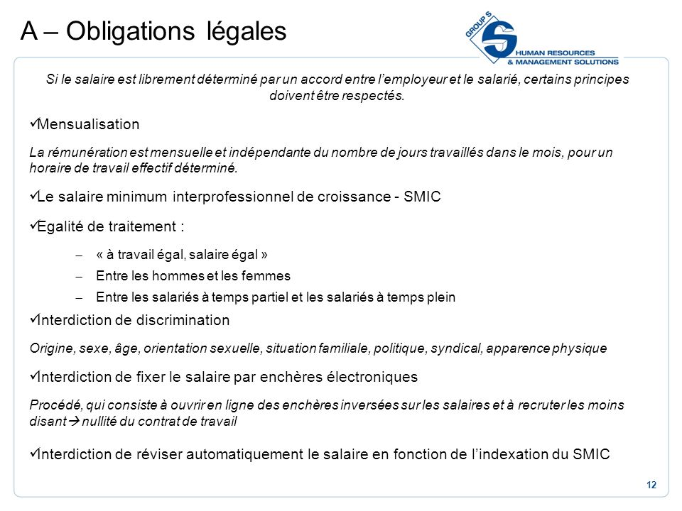 A – Obligations légales