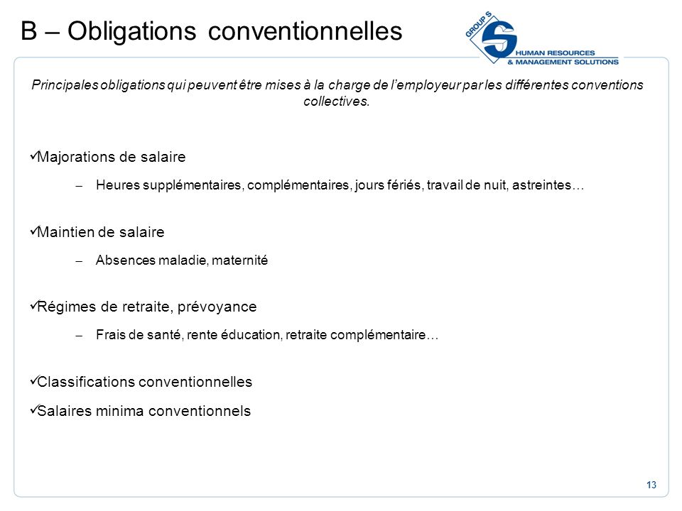 B – Obligations conventionnelles