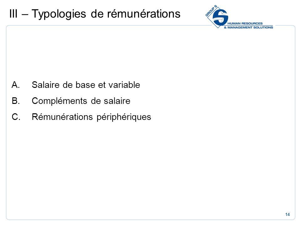 III – Typologies de rémunérations