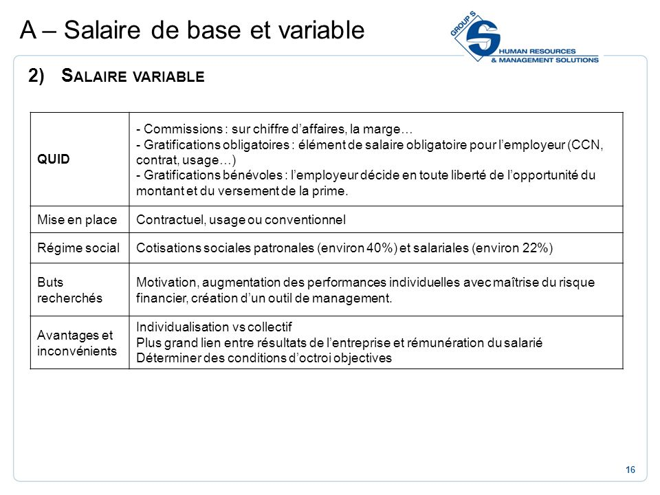A – Salaire de base et variable