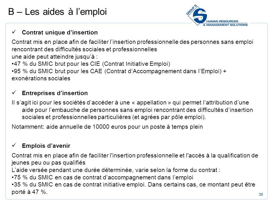 B – Les aides à l'emploi Contrat unique d'insertion