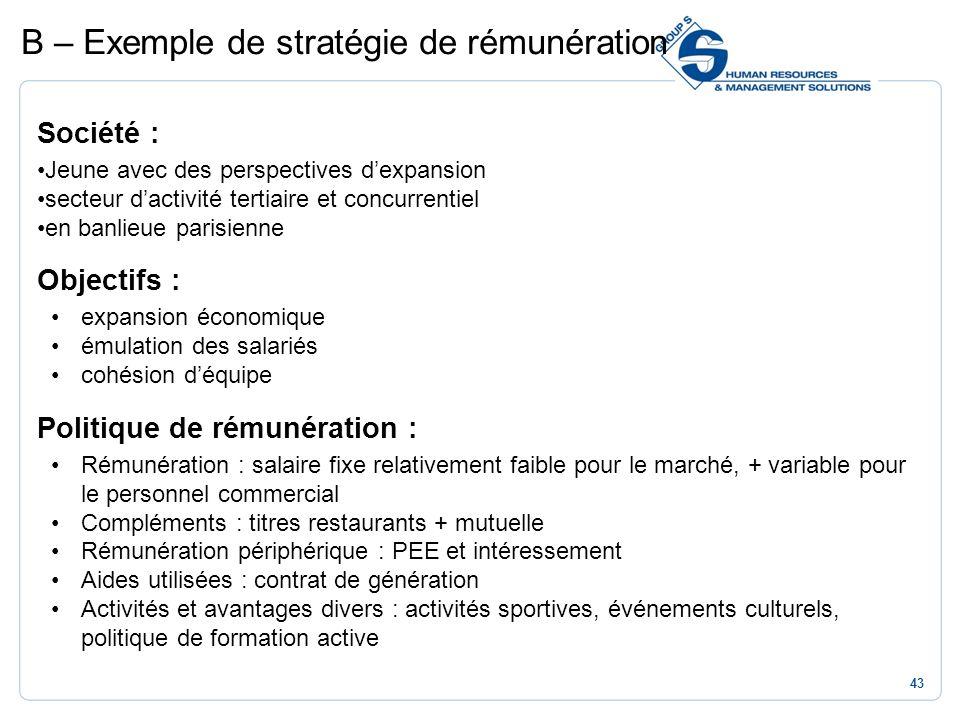 B – Exemple de stratégie de rémunération