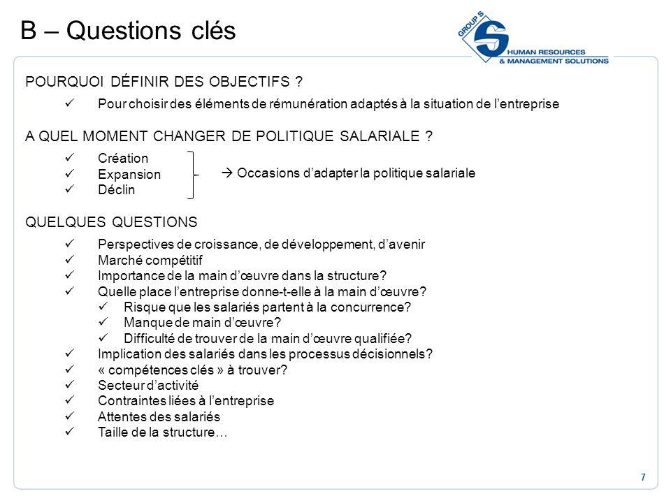B – Questions clés POURQUOI DÉFINIR DES OBJECTIFS