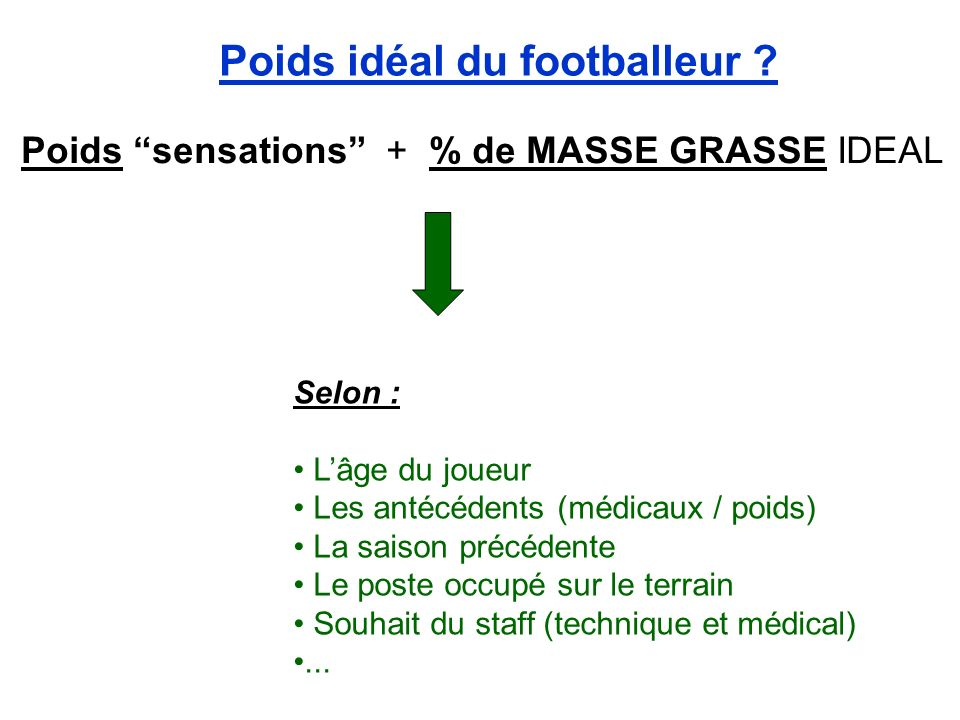 Poids idéal du footballeur