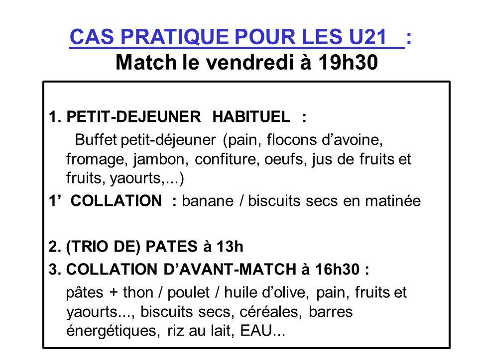 CAS PRATIQUE POUR LES U21 : Match le vendredi à 19h30