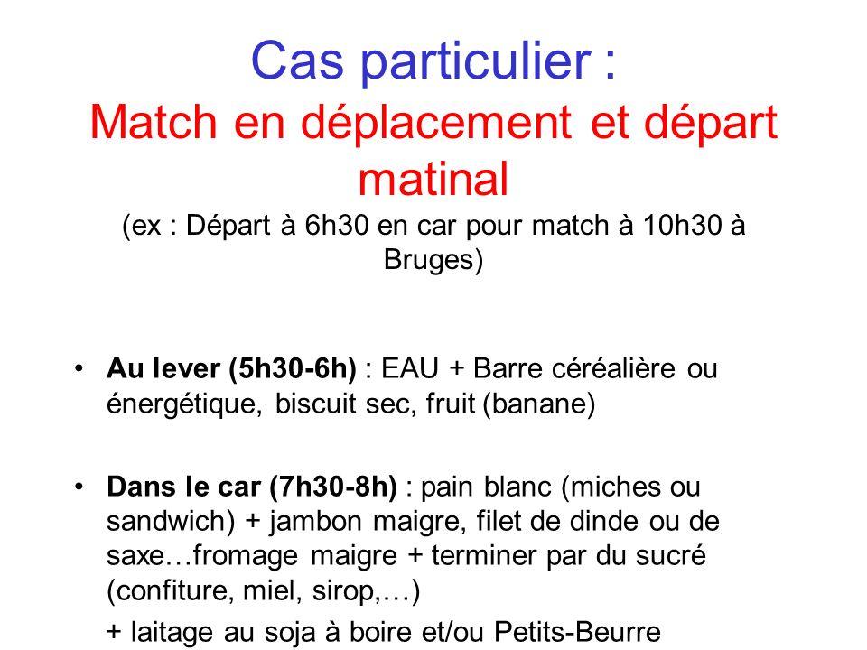 Cas particulier : Match en déplacement et départ matinal (ex : Départ à 6h30 en car pour match à 10h30 à Bruges)