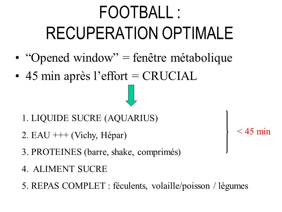FOOTBALL : RECUPERATION OPTIMALE