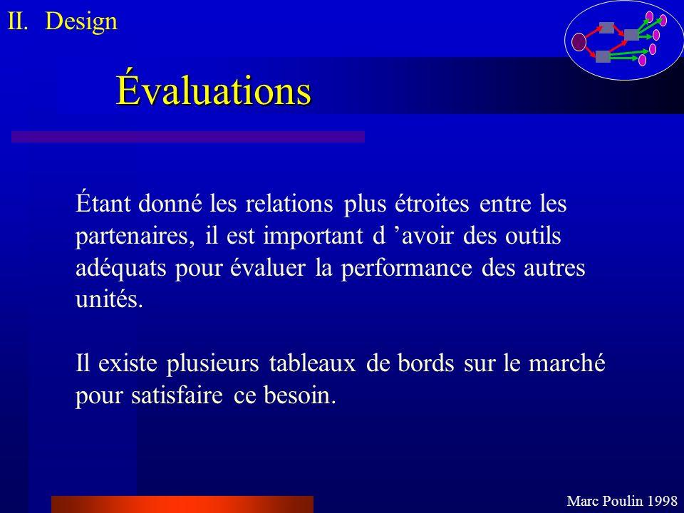 II. Design Marc Poulin 1998. Évaluations. Étant donné les relations plus étroites entre les. partenaires, il est important d 'avoir des outils.