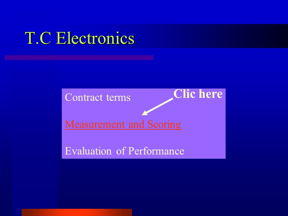 T.C Electronics Clic here Contract terms Measurement and Scoring