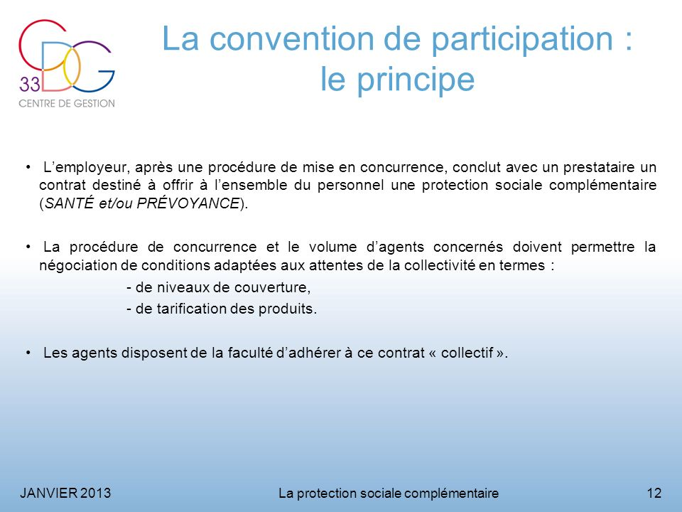 La convention de participation : le principe