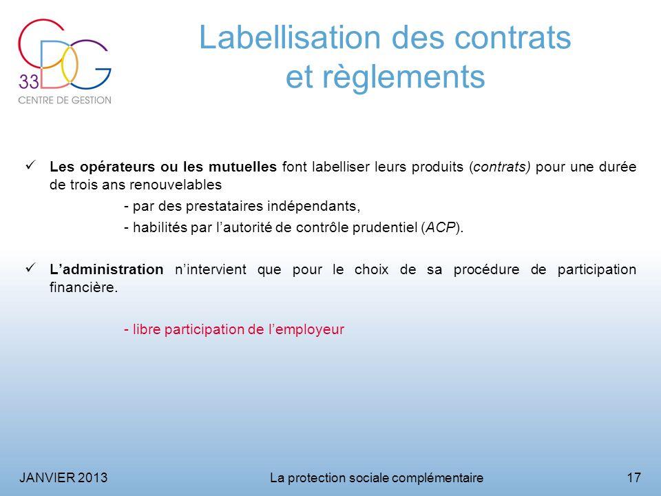 Labellisation des contrats et règlements