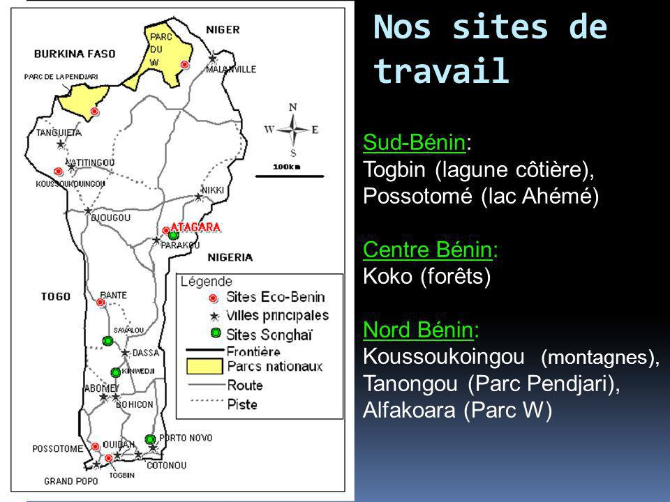 Nos sites de travail Sud-Bénin: