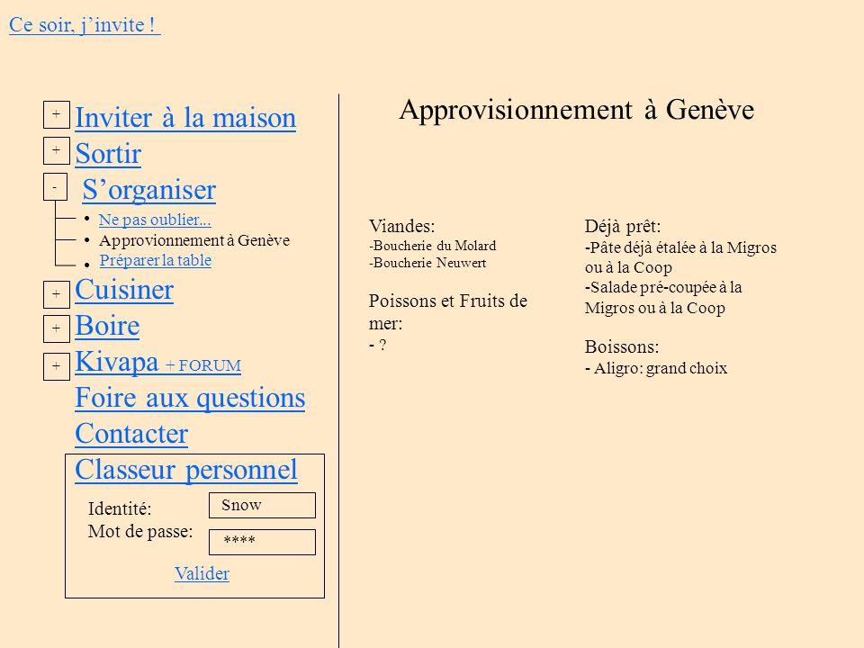 Approvisionnement à Genève