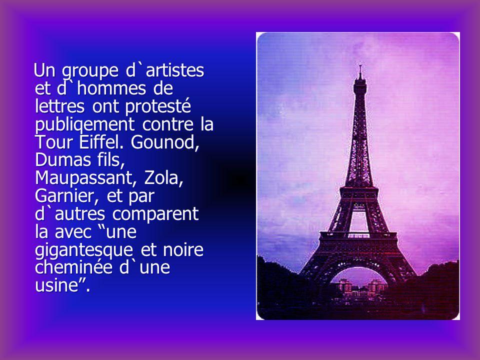 Un groupe d`artistes et d`hommes de lettres ont protesté publiqement contre la Tour Eiffel.