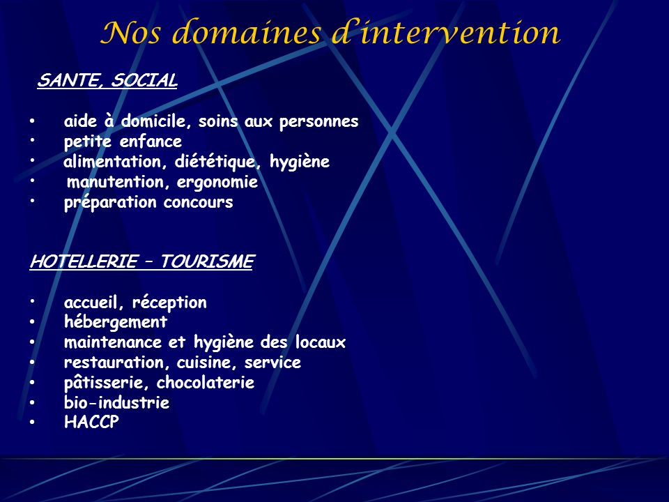 Nos domaines d'intervention