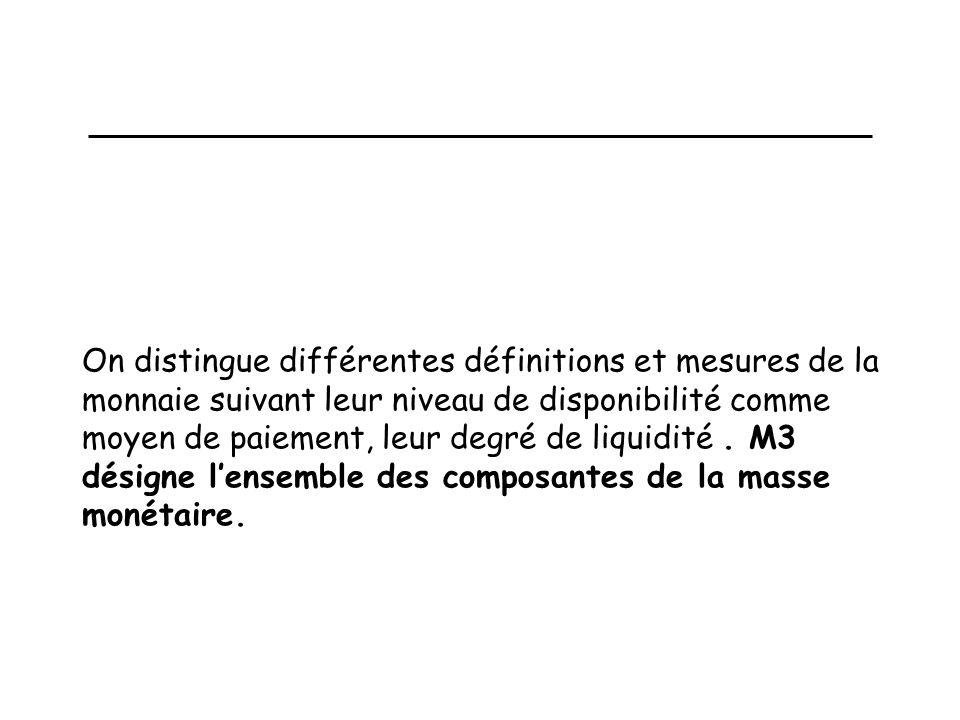 On distingue différentes définitions et mesures de la monnaie suivant leur niveau de disponibilité comme moyen de paiement, leur degré de liquidité .