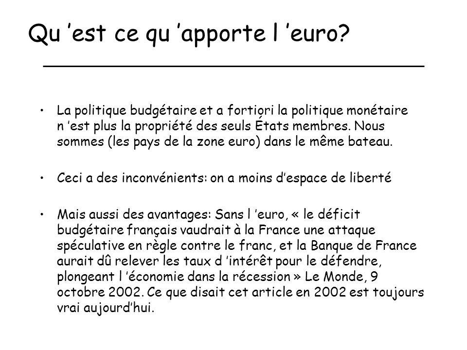 Qu 'est ce qu 'apporte l 'euro