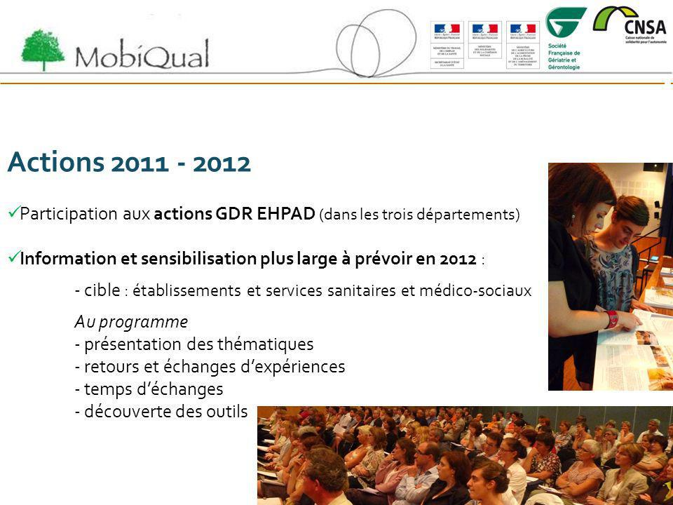 Actions 2011 - 2012 Participation aux actions GDR EHPAD (dans les trois départements) Information et sensibilisation plus large à prévoir en 2012 :