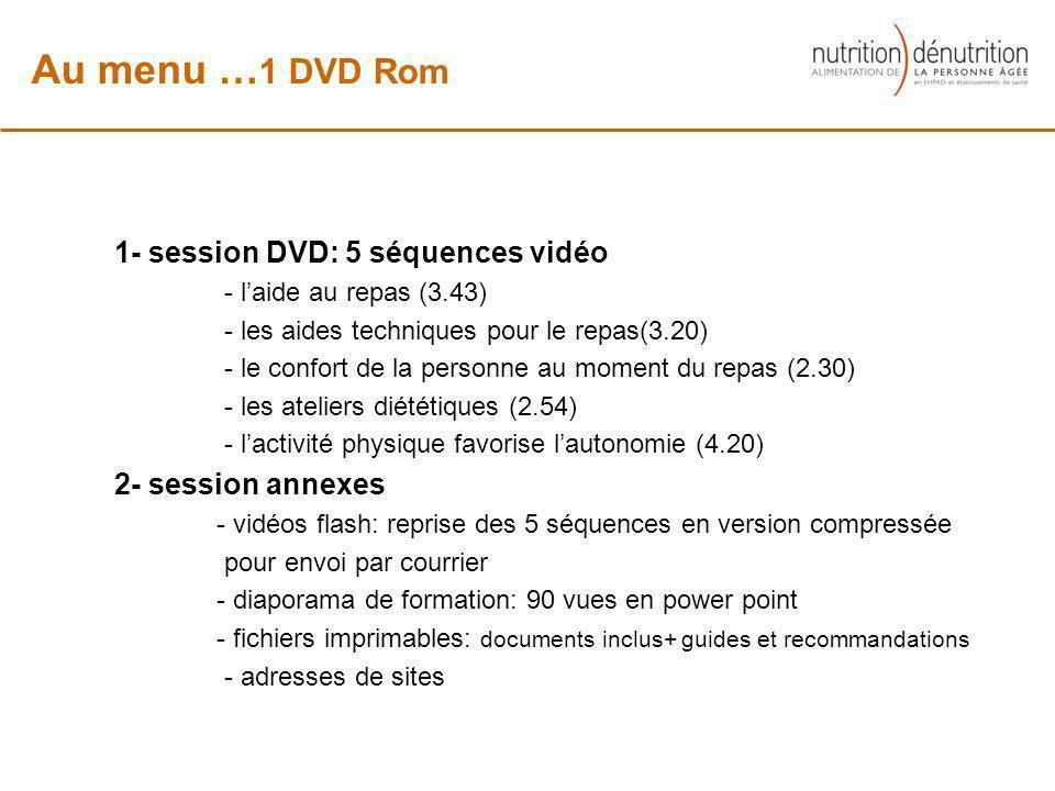 Au menu …1 DVD Rom 1- session DVD: 5 séquences vidéo