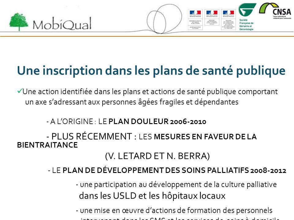 Une inscription dans les plans de santé publique