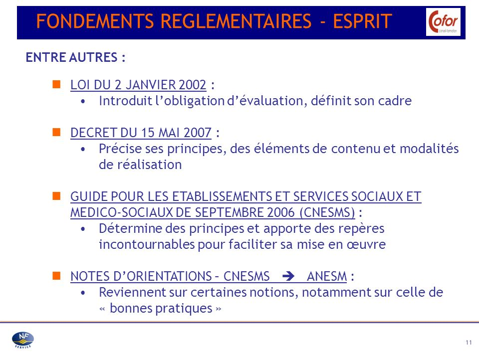 FONDEMENTS REGLEMENTAIRES - ESPRIT
