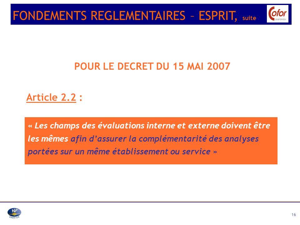 FONDEMENTS REGLEMENTAIRES – ESPRIT, suite