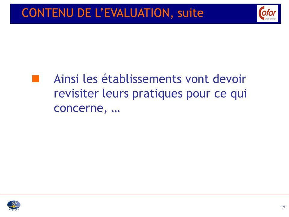 CONTENU DE L'EVALUATION, suite