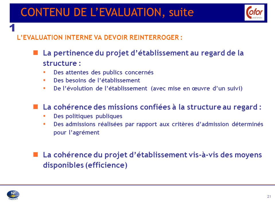 1 CONTENU DE L'EVALUATION, suite