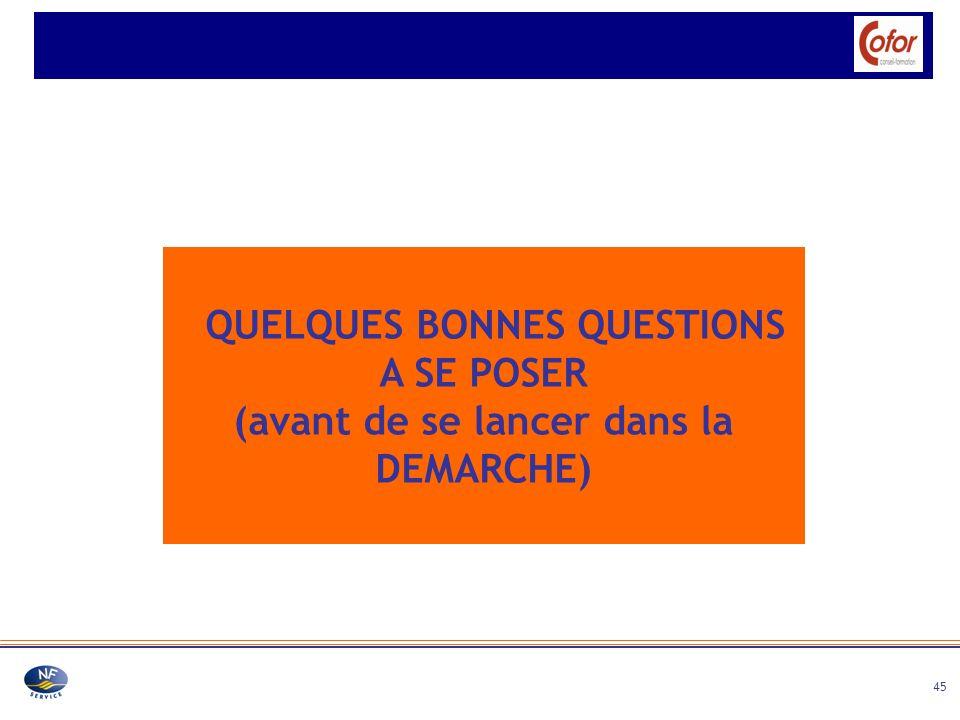 QUELQUES BONNES QUESTIONS A SE POSER