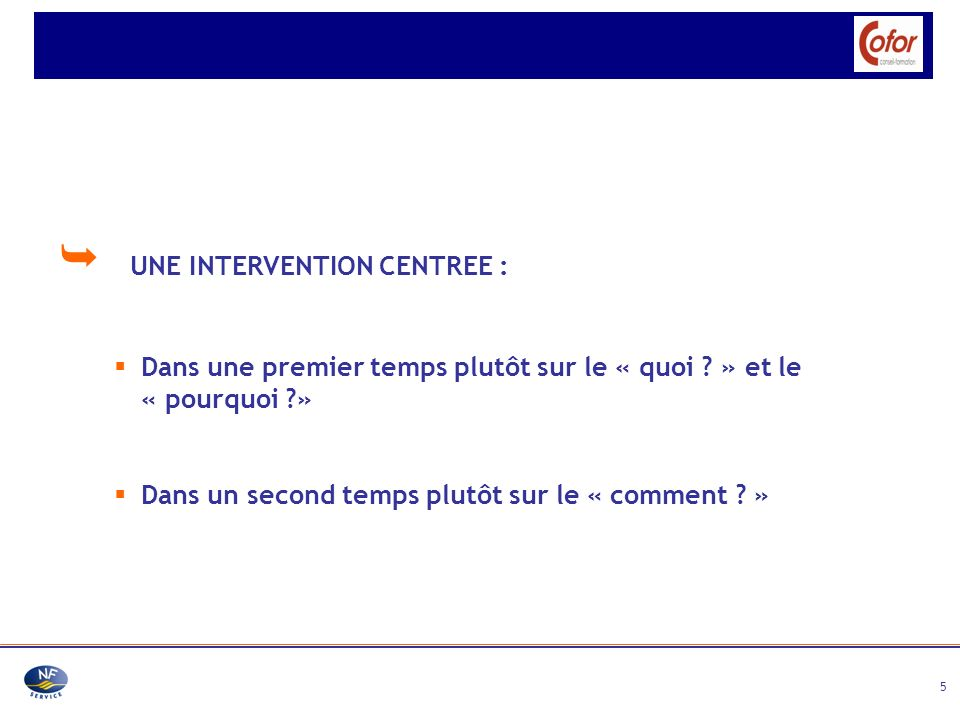  UNE INTERVENTION CENTREE :