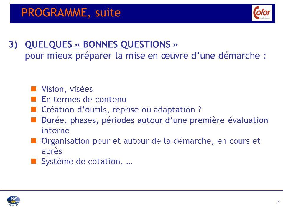 PROGRAMME, suite 3) QUELQUES « BONNES QUESTIONS »