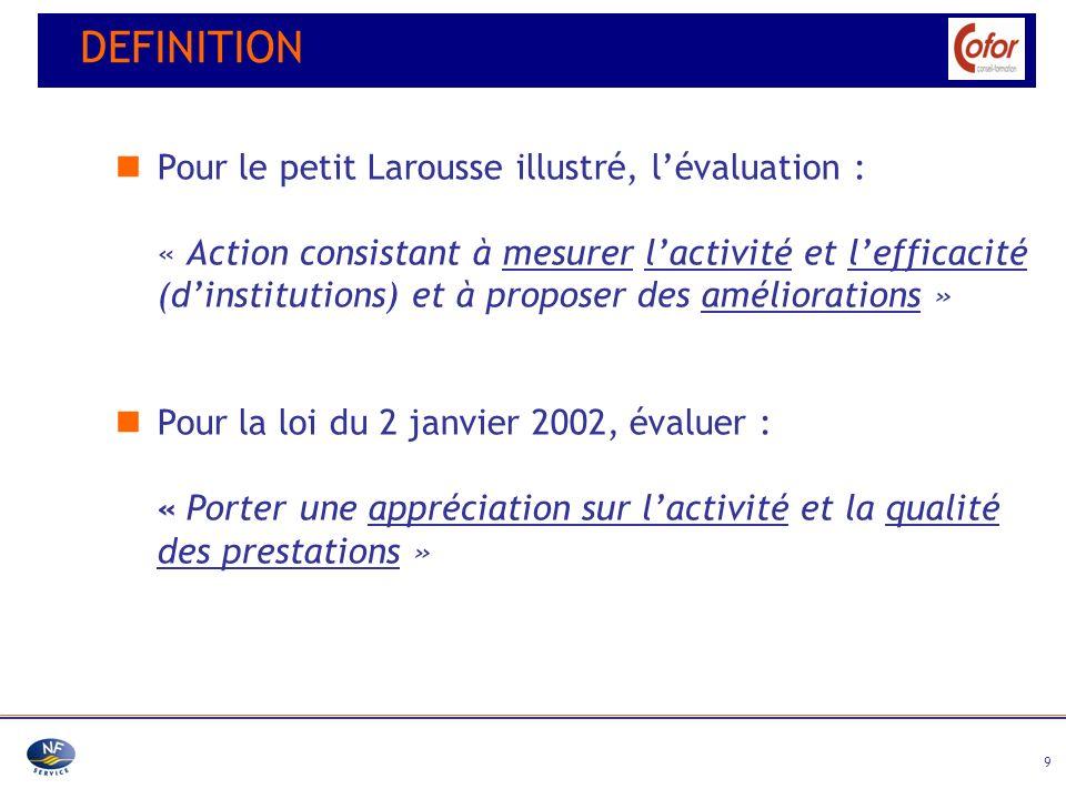 DEFINITION Pour le petit Larousse illustré, l'évaluation :