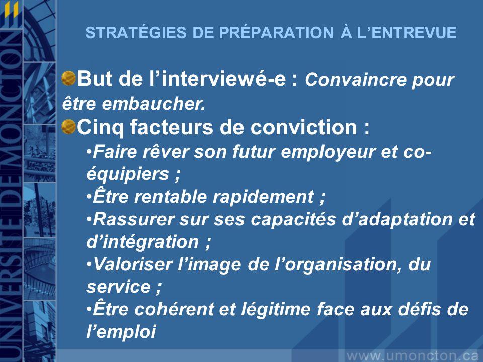STRATÉGIES DE PRÉPARATION À L'ENTREVUE