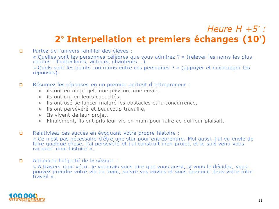 Heure H +5' : 2° Interpellation et premiers échanges (10')