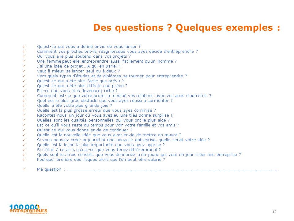 Des questions Quelques exemples :
