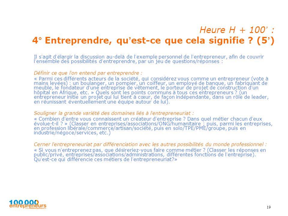 Heure H + 100' : 4° Entreprendre, qu'est-ce que cela signifie (5')