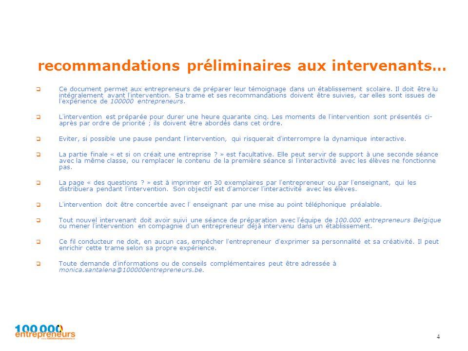 recommandations préliminaires aux intervenants…