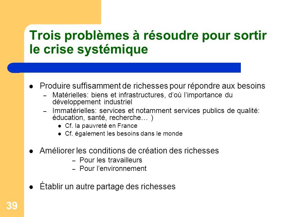 Trois problèmes à résoudre pour sortir le crise systémique