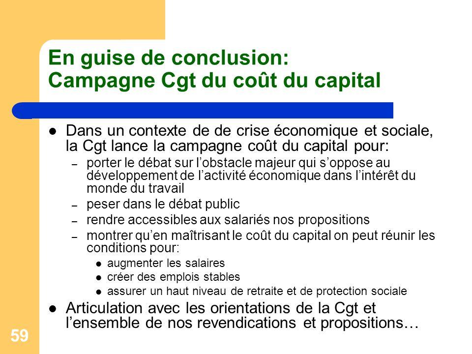 En guise de conclusion: Campagne Cgt du coût du capital