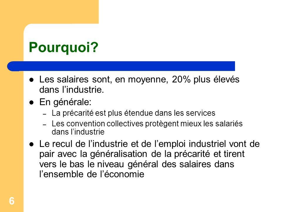 Pourquoi Les salaires sont, en moyenne, 20% plus élevés dans l'industrie. En générale: La précarité est plus étendue dans les services.
