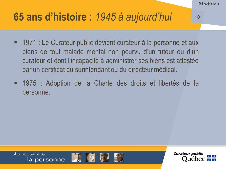65 ans d'histoire : 1945 à aujourd'hui