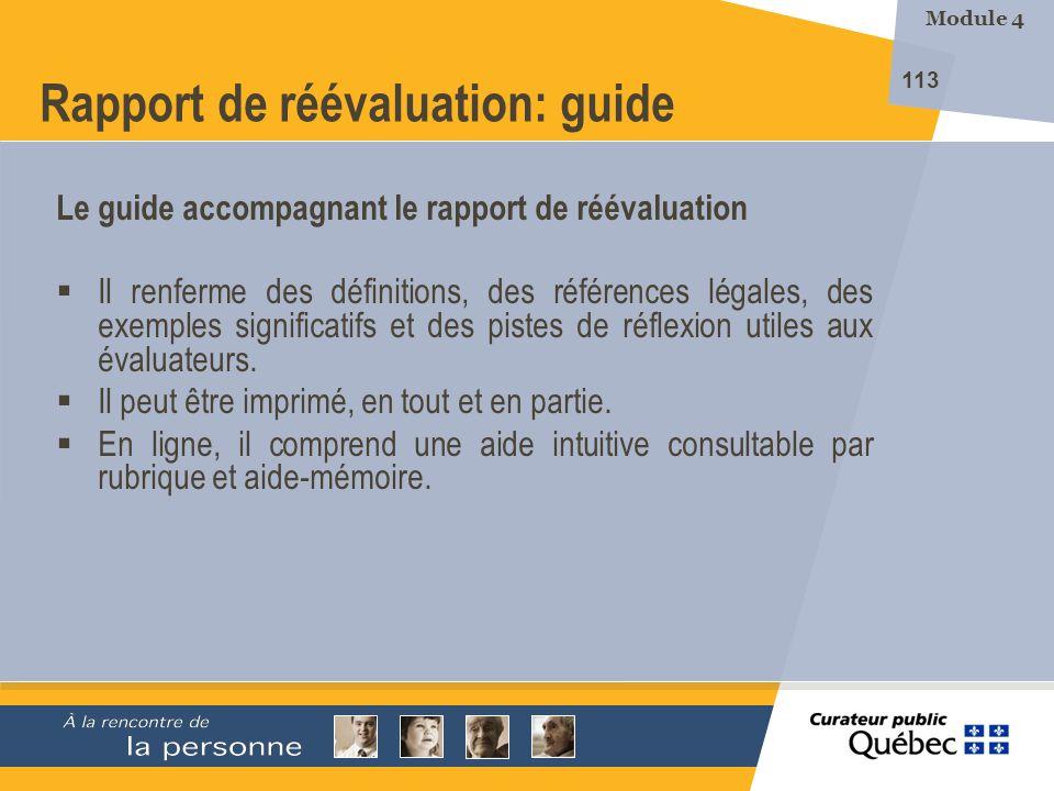 Rapport de réévaluation: guide