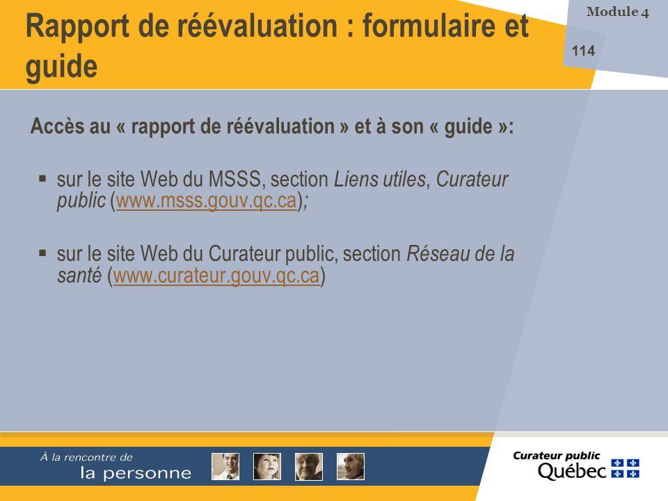Rapport de réévaluation : formulaire et guide